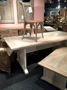 7' table in whitewashed finish