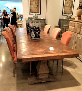 Long dining table with a trestle base, French Country Dining Table