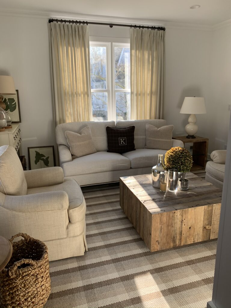 Century Cornerstone sofa, Fair Haven, NJ, rustic coffee table